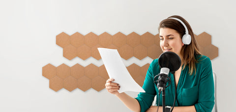 polygon cork tiles sound absorbent and sound proof for podcast