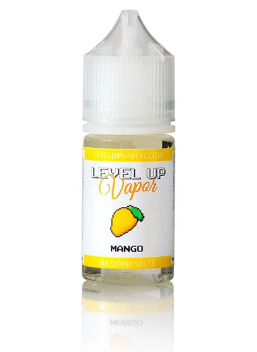 A bottle of Level Up Mango, one of our most popular nic salt juice flavors.