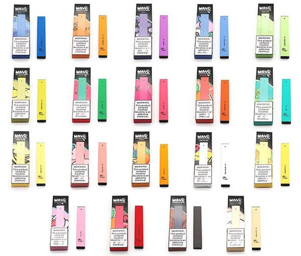 The variety of flavors that Wave Bars disposable vapes are available in.