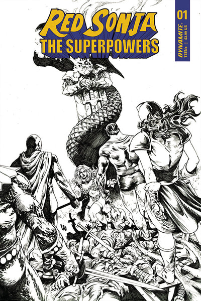 RED SONJA THE SUPERPOWERS #1 LAU (1:15) B&W VARIANT