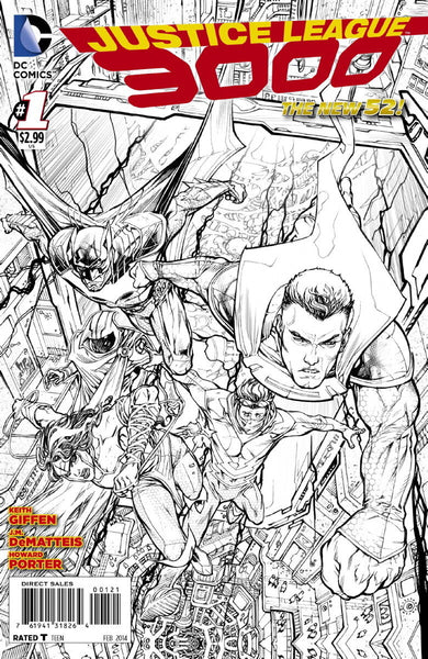 JUSTICE LEAGUE 3000 #1, PORTER 1:50 SKETCH VARIANT, HTF, DC NEW 52 (2014)