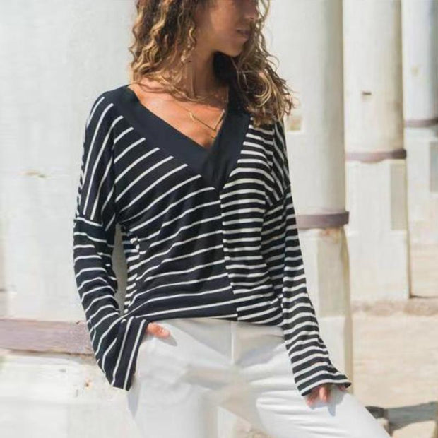 V Neck Stripes Color Block Patchwork Casual T-Shirts