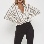 Chic Striped Loose Long Sleeve Shirt