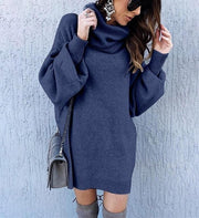 Casual Loose Long High Collar Knitting Sweater Mini Dress