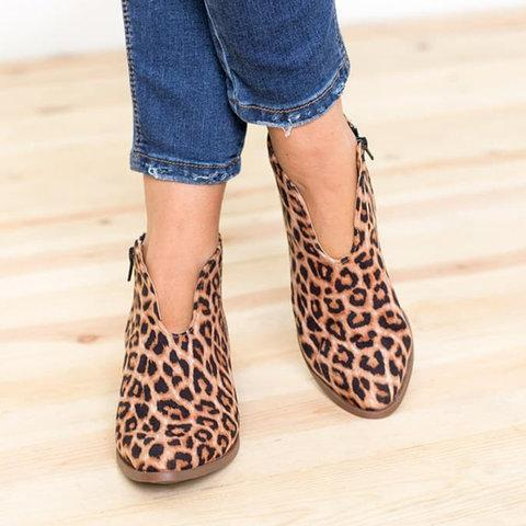 Women Deep V Sexy Plus Size Boots Casual Comfort Zipper Boots