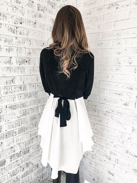 Casual Black And White Coloring Waist Belted T-Shirt