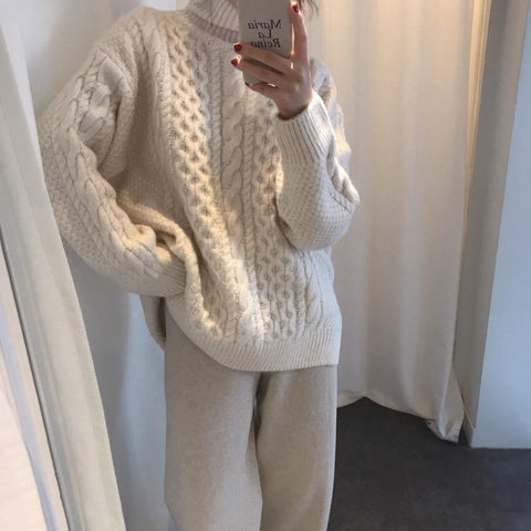 Casual High Collar Pure Colour Slit Sweater