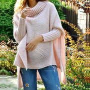 Maternity  Long Sleeve Pure Color Short High Collar Sweater