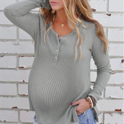 Maternity Casual Round Neck Pure Colour Sweater