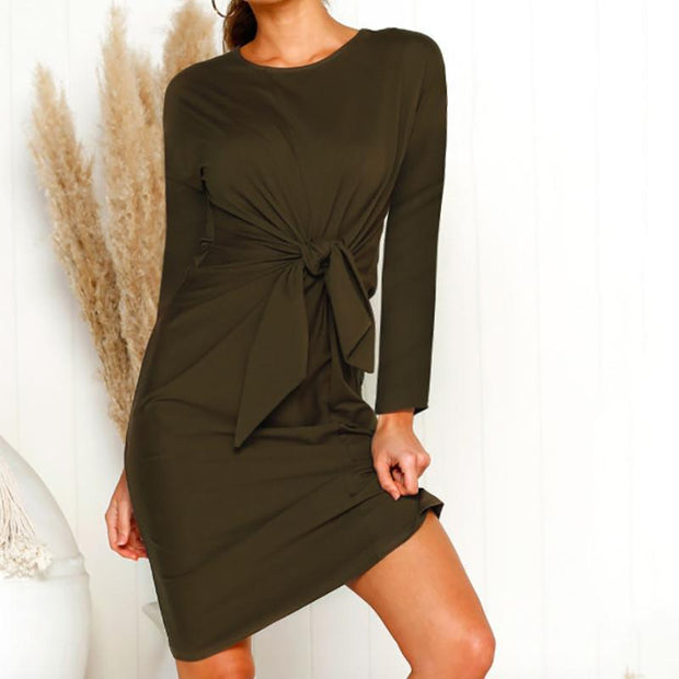 Maternity Casual Round Neck Pure Colour Belted Dress