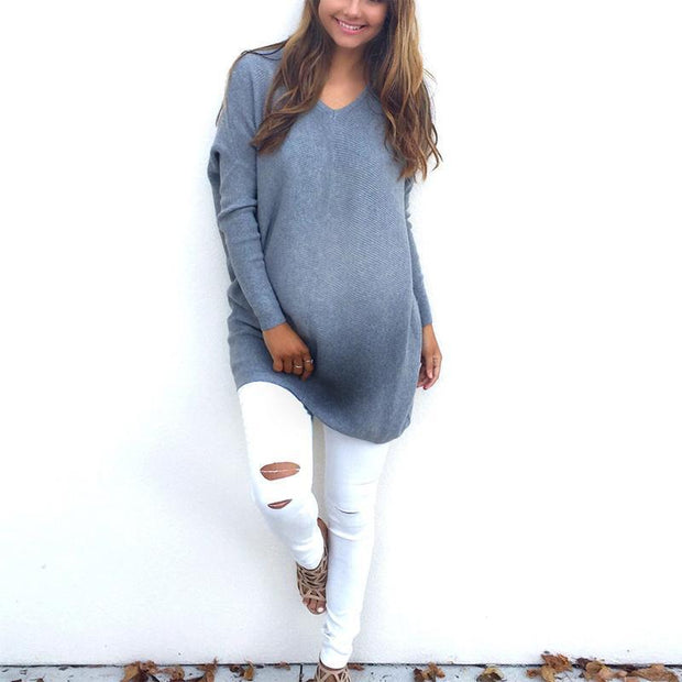 Maternity Casual Pure Color V Neck Long Sleeve T-Shirt