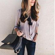 Maternity Casual Pure Color V Neck Single-Breasted Shirt