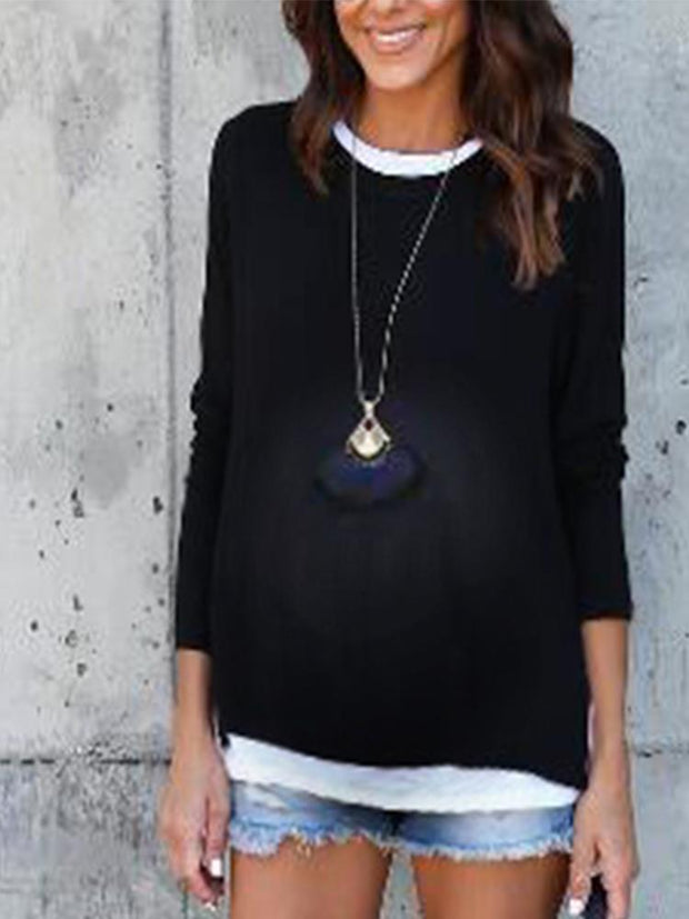 Maternity  Colorblock Fake Two Long Sleeve T-Shirt