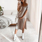 Casual Solid Color Open Fork Dress