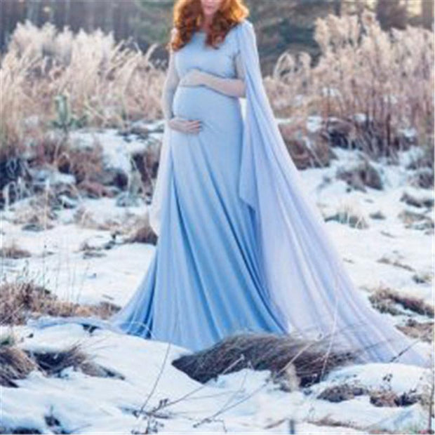 Fashion Solid Color Round Neck Shawl Long Maternity Dress