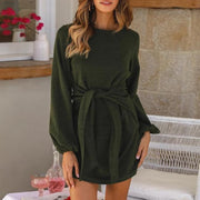 Maternity Casual Round Neck Long Lantern Sleeve Plain Dress