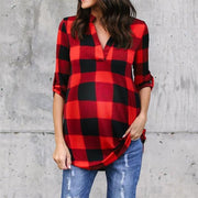 Casual V-neck Long Sleeve Plaid Shirt
