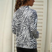 Casual Half High Collar Long-sleeved Zebra T-shirt