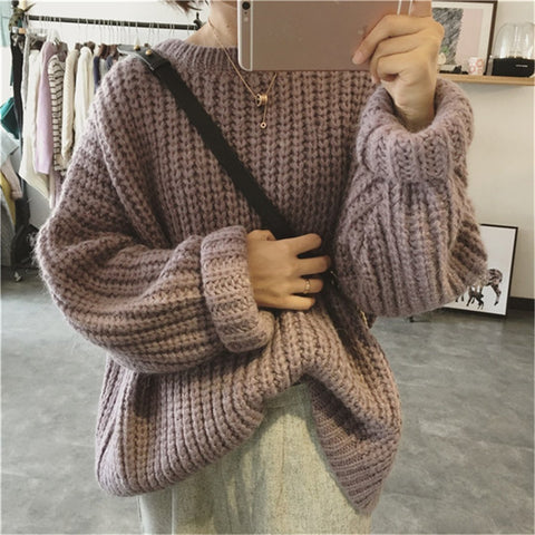 Fashion Loose Pure Color Pullovers