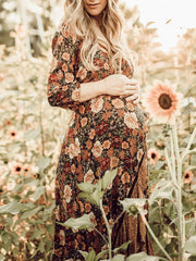 Maternity Bohemian V-Neck Floral Print Cropped Sleeve Ruffled Irregular Dress