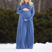 Casual One Word Collar Solid Color Long-sleeved Maternity Dress