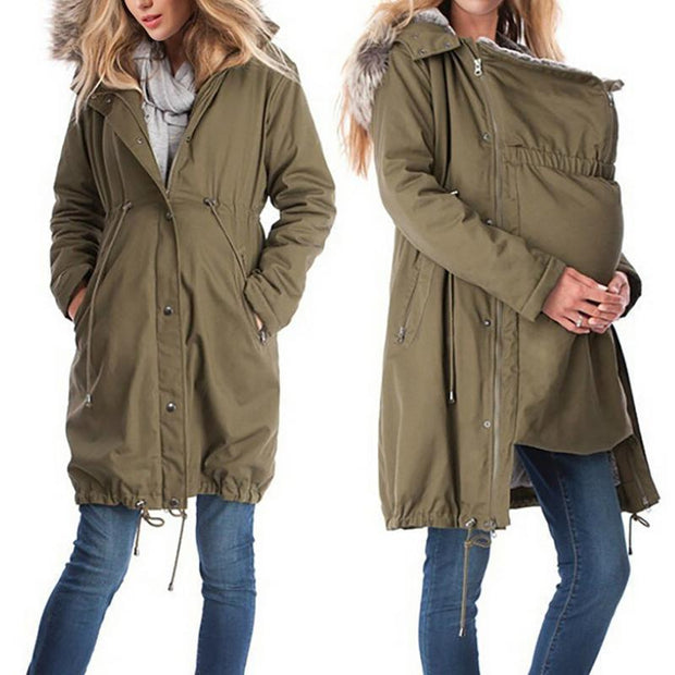 Maternity 2-In-1 Cotton Canvas Parka Without Faux Fur Lining