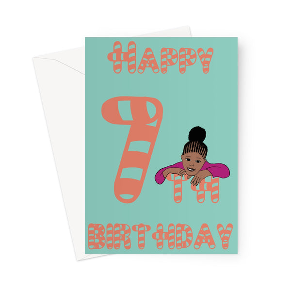 Mia is 7 Greeting Card - Expressive Shades