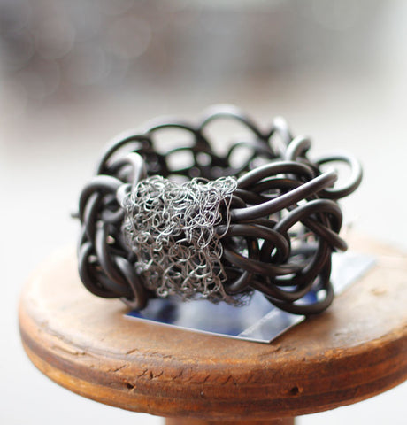 Rubber Wire Cuff by Teresa Dair