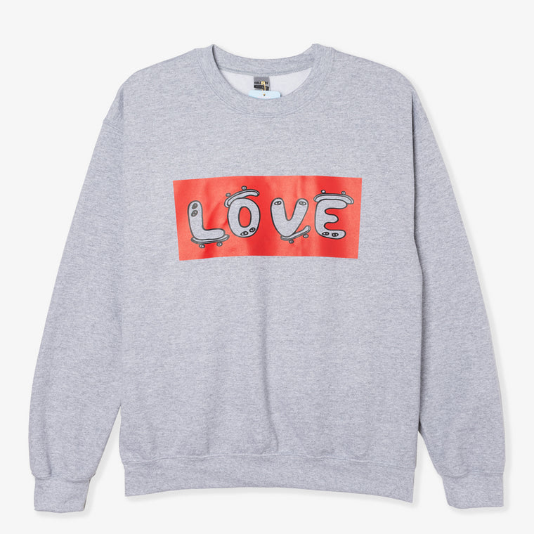 NO FOCUS ARTS LOVE RED BLOCK CREWNECK (GREY)