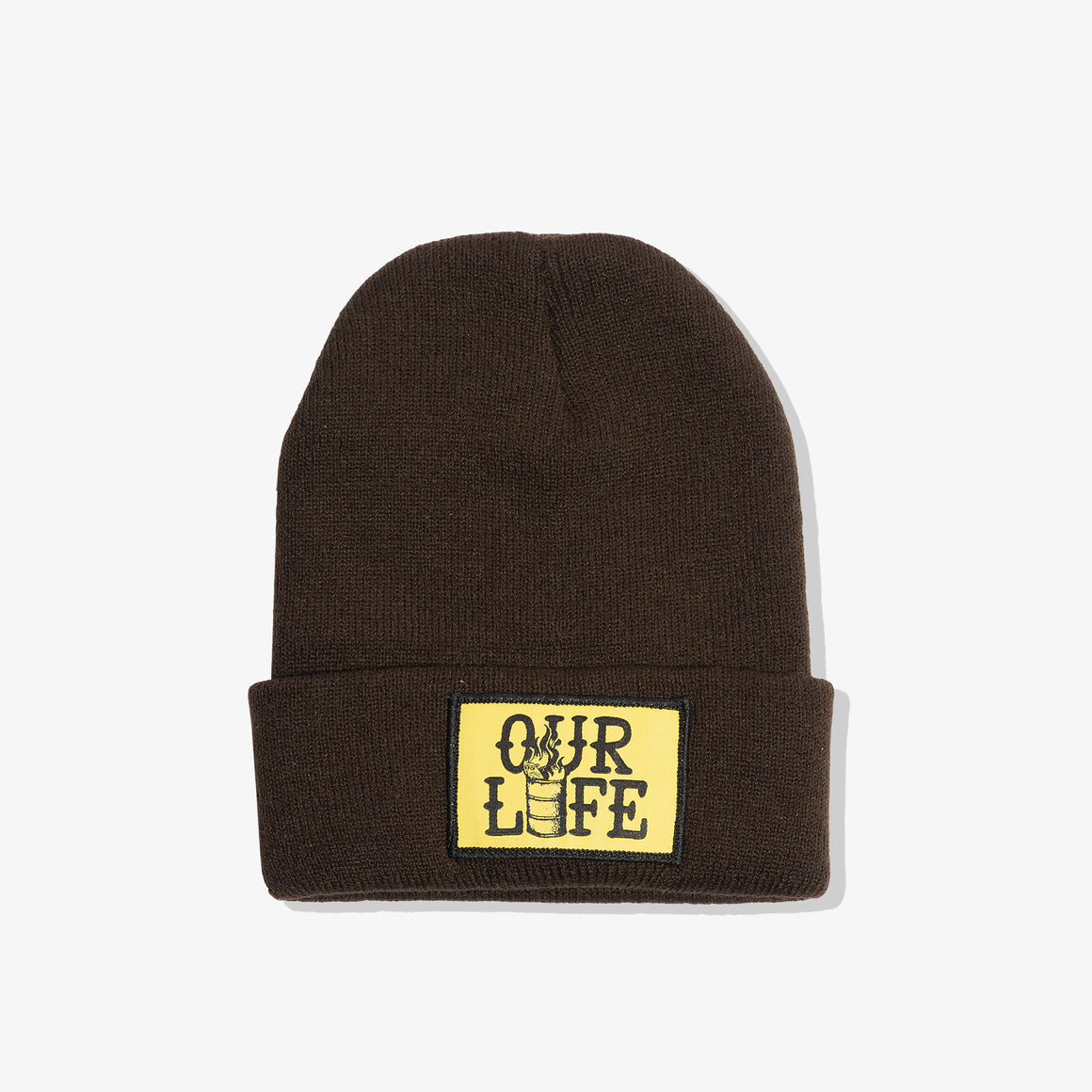 OUR LIFE PATCH BEANIE (BROWN)