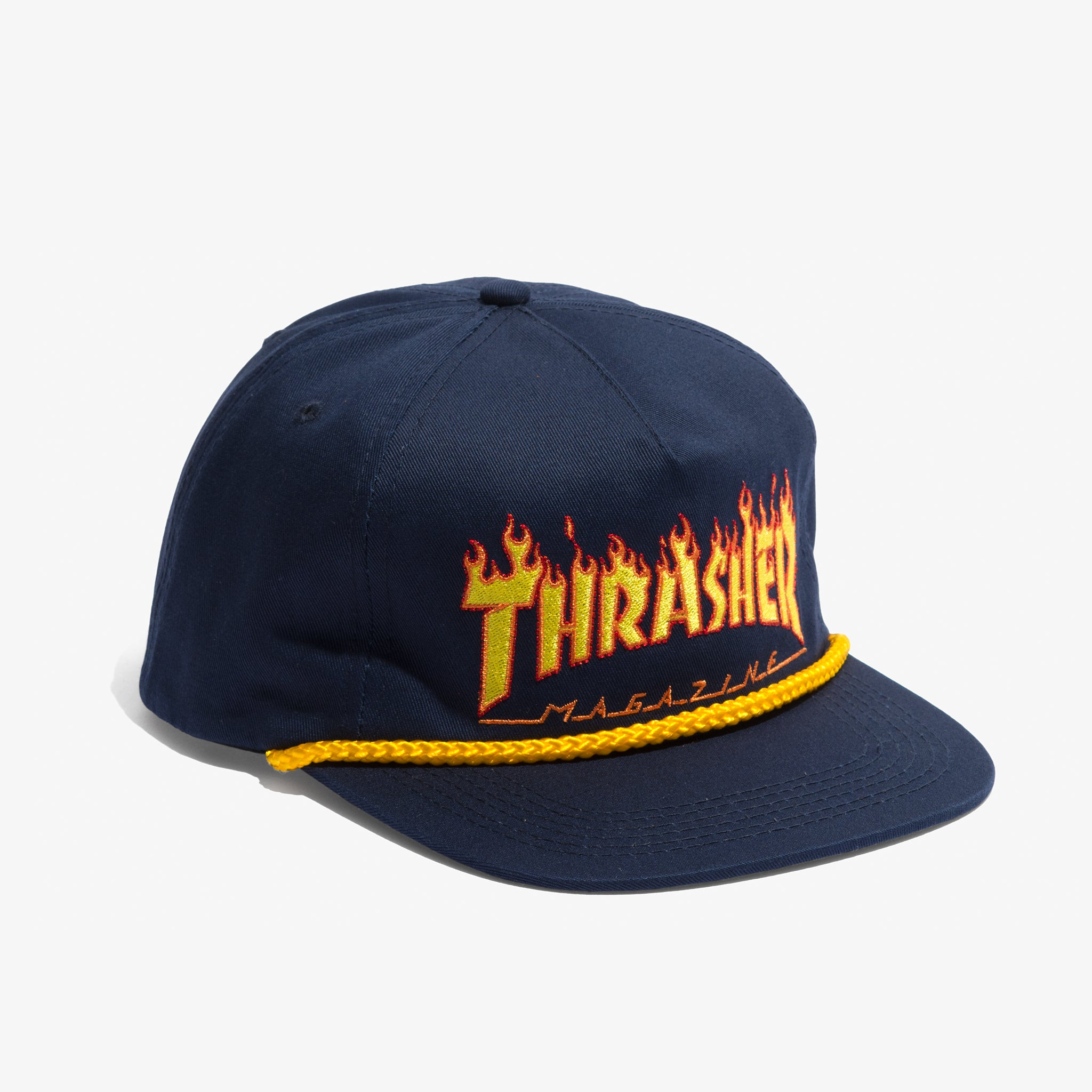 THRASHER FLAME LOGO ROPE HAT (NAVY) - 510skateboarding 92314955a35
