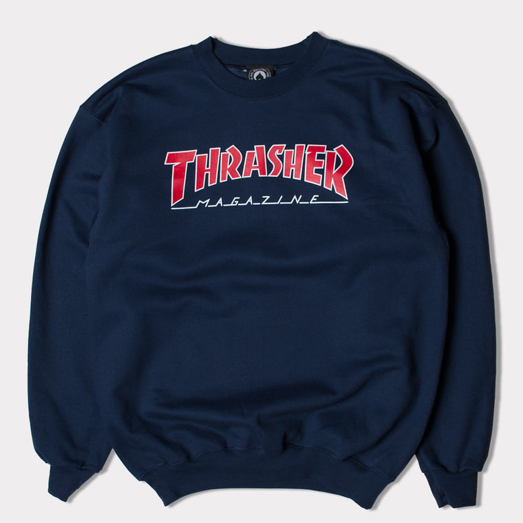 THRASHER MAG OUTLINE LOGO CREWNECK SWEATSHIRT (NAVY)