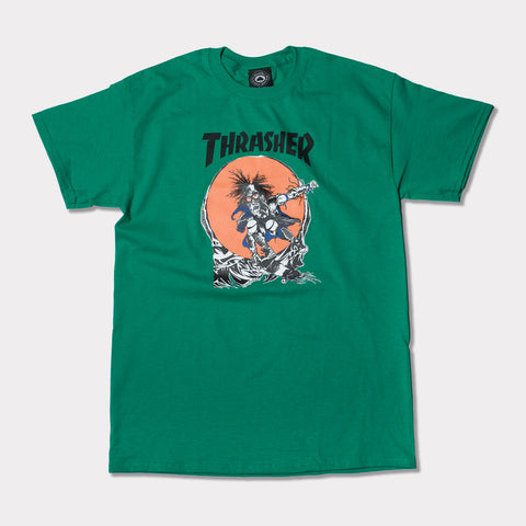 THRASHER SK8 OUTLAW TEE (GREEN)