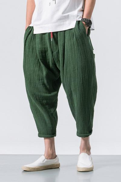 Drawstring Baggy Linen Pants