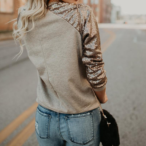 Sequin long sleeve T shirt