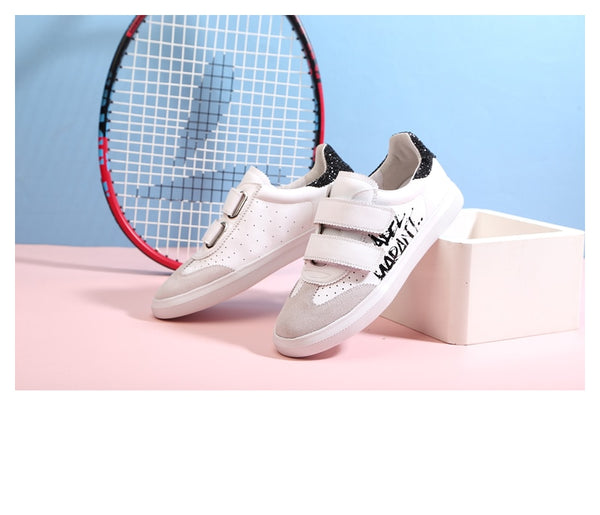 Small world genuine unisex leather sneakers