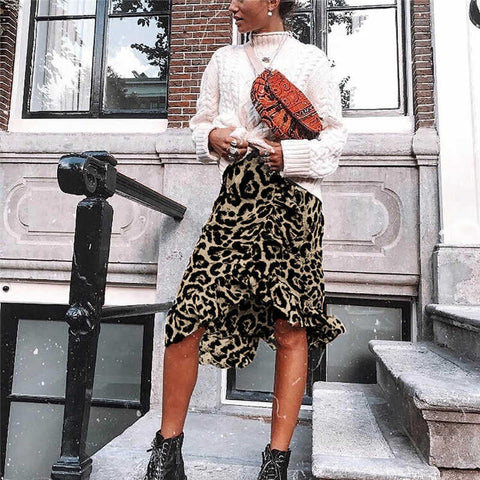 Happy moments leopard print skirt