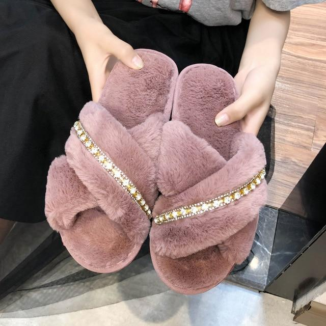 Goodluck forever faux fur slippers