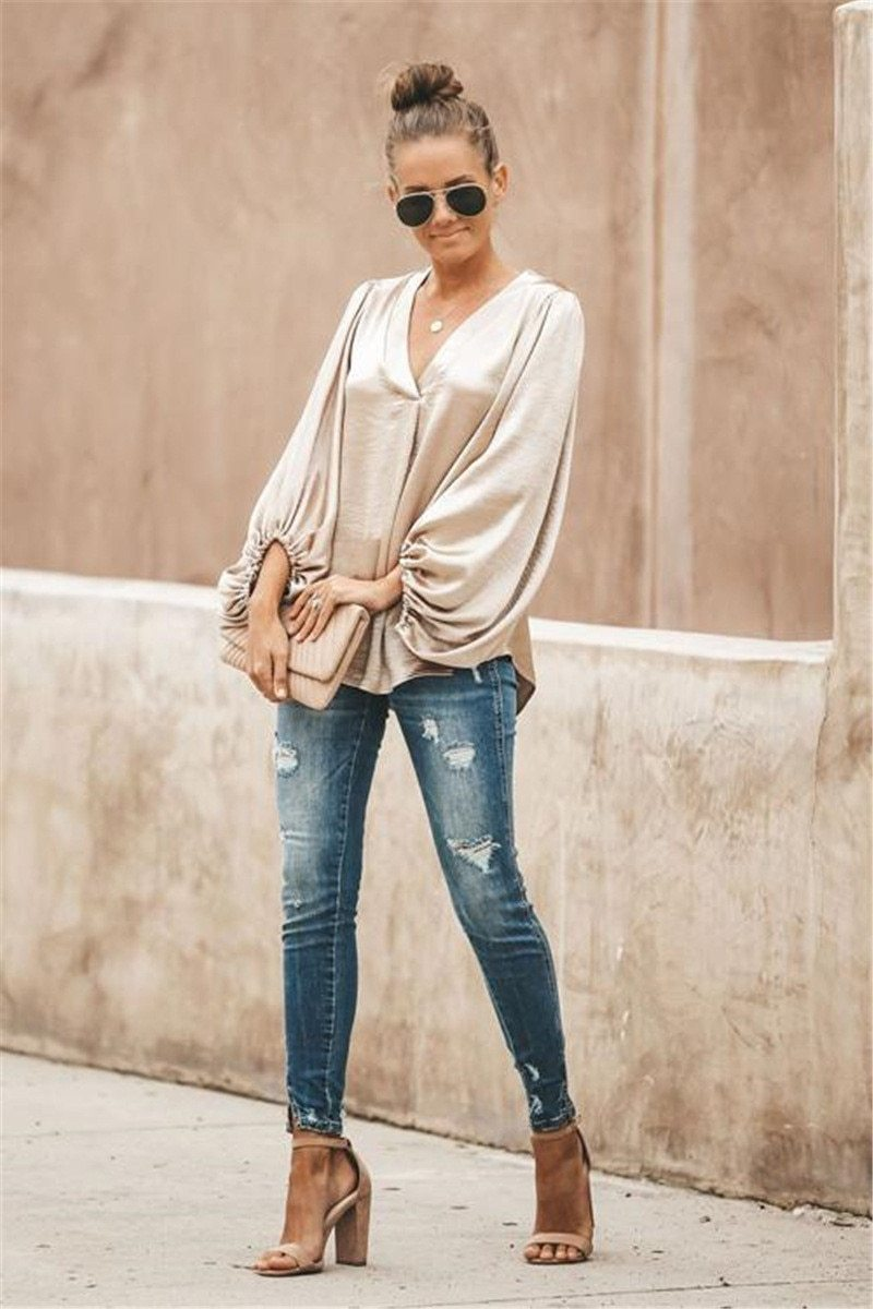 Good news V-neck lantern blouse