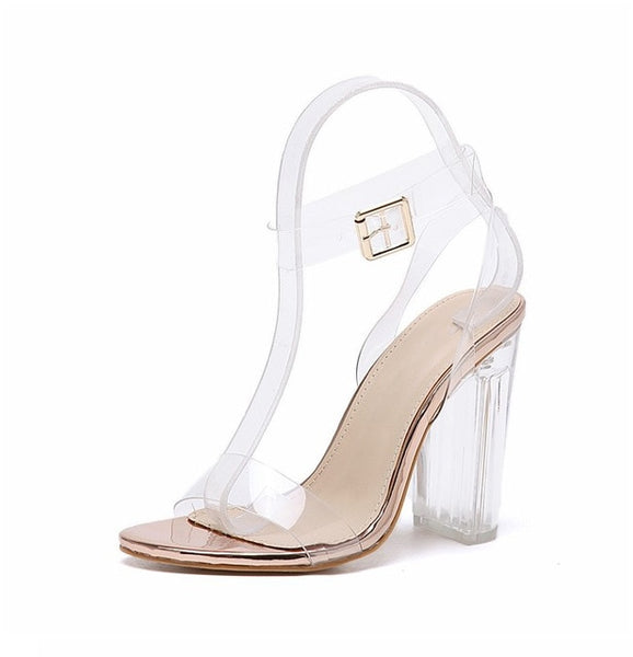 Jelly crystal open toed heels