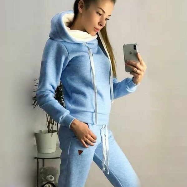 Solid color set top tracksuit