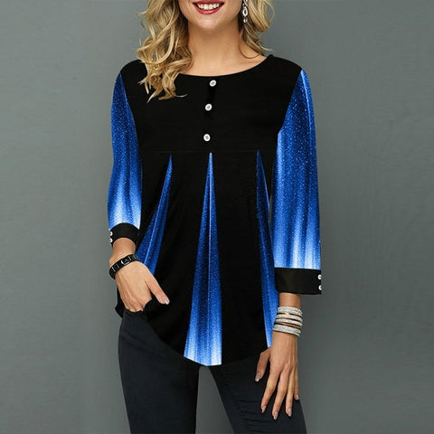 Stripe loose striped button blouse