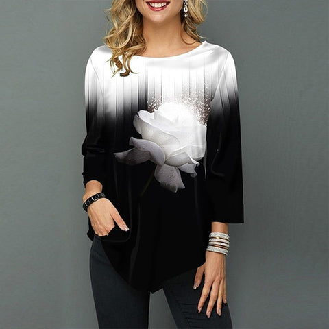 Gradient print O-neck blouse
