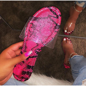 Unique transparent women flat slip-on