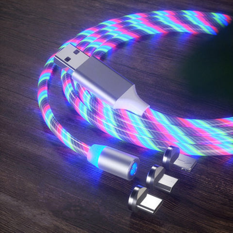 Luminous magnetic LED phone cord