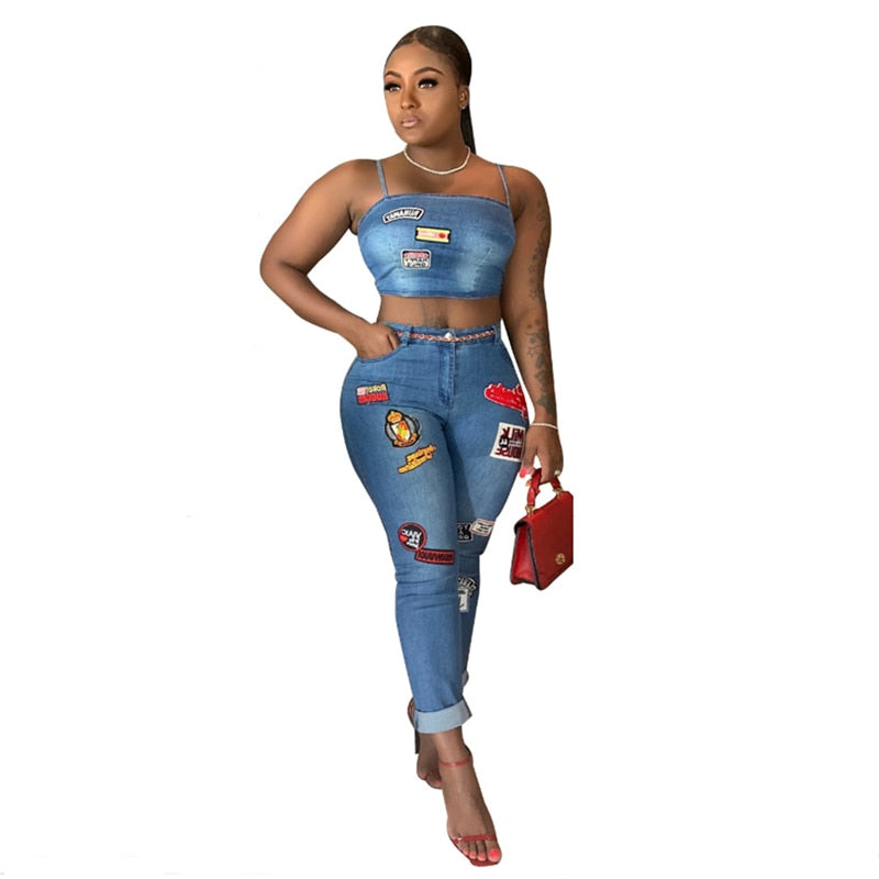 Cartoon Patch Two Piece Spaghetti Jeans