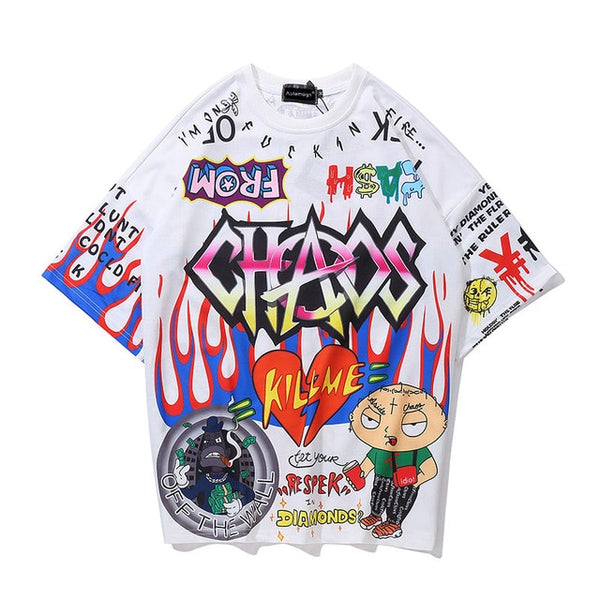 Graffiti cartoon printed gents T-shirts