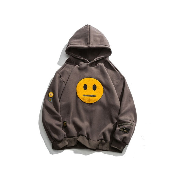 Smile face patchwork fleece hoodie
