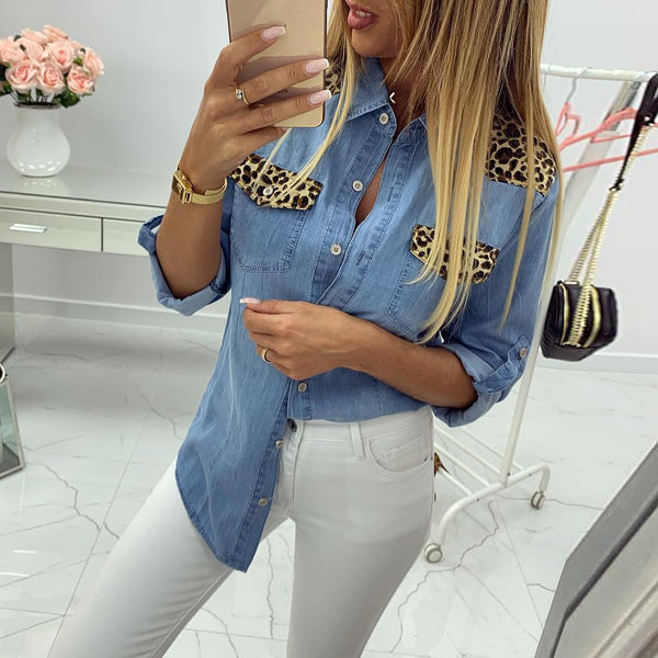 New Haven Leopard patches Denim Top