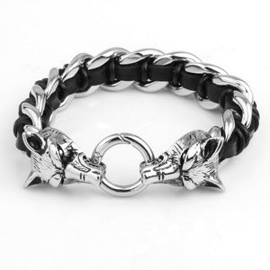 Two wolf heads stainless steel unisex bracelet